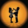Silhouette of Children Learning to Dance Ballroom clipart