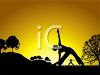 Silhouetted Figures Doing Yoga in the Park at Sunrise clipart