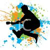 Silhouette of a Guitar Player Jumping in the Air clipart