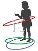 Silhouette of a Little Girl Playing with Plastic Waist Hoops clipart