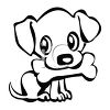 Cute Little Puppy with a Bone in His Mouth clipart