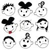 Set of Children's Faces in with Different Emotions clipart