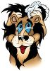 Cartoon of a Lion Shampooing His Hair clipart