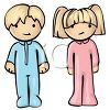Little Blond Brother and Sister Ready for Bed clipart