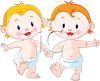 Two Little Babies Learning to Walk clipart