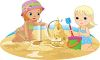 Two Little Girls Making a Sandcastle on the Beach clipart