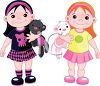 Twin Girls Showing Diversity in their Styles clipart