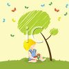 Small Boy Sitting Under a Tree clipart