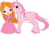 Cartoon of a Red Haired Princess and Her Unicorn Pony clipart