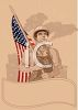 Vintage Patriotic American Worker with a Flag and a Banner clipart