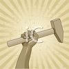 Vintage Americana of a Worker's Arm Holding a Hammer clipart