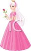 Pretty Cartoon Princess Holding a Rose clipart