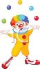 Cartoon of a Happy Clown with Rainbow Hair Juggling Balls clipart