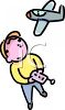 Cartoon of a Little Boy Playing with a Remote Control Plane clipart