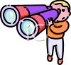 Cartoon of a Little Boy Using Giant Binoculars clipart