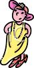 Cartoon of a Little Girl Playing Dress Up in Her Mother's Clothes clipart