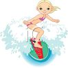 Young Girl Riding a Surfboard clipart