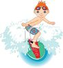 Red Haired Boy Riding a Surfboard clipart