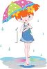 Adorable Red Haired Girl Holding an Umbrella in a Rain Shower clipart