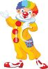 Cute Circus Clown Wearing a Rainbow Wig clipart
