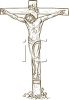 Drawing of Christ on the Crucifixion Cross clipart