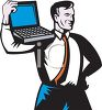 Strong Businessman Holding a Laptop on His Shoulder clipart