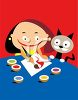 Little Girl Painting with Her Cat clipart