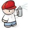 Little Kid Holding a Can of Spray Paint clipart