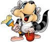 Cartoon Raccoon Holding a Paint Brush and Bucket of Paint clipart