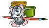 Cute Little Mouse with Paint Pots and a Brush clipart