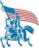Patriotic Paul Revere Riding with the American Flag clipart