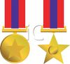 Gold Star Medals for Achievement clipart
