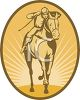 Vintage Icon of a Jockey on a Horse clipart