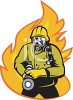 Vintage Fireman Holding a Fire Hose to Put out a Flame clipart