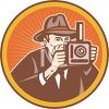 Vintage Newspaperman Taking a Photo clipart
