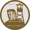 Man in a Prison Camp Looking Out Through Barbed Wire clipart
