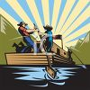 Vintage Style Men on a River Barge  clipart