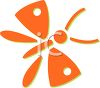 Insect Icon Design of a Butterfly in Orange clipart