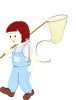 Little Girl with a Butterfly Net clipart
