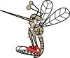 Cartoon Mosquito Wearing Tennis Shoes with His Arms Folded clipart