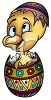 Cute Little Chicken Hatching from an Easter Egg clipart