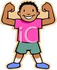 African American Boy Making Muscles clipart