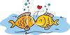 Cartoon of Two Fish Kissing clipart