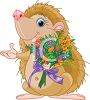 Cartoon of a Hedgehog Holding a Bouquet of Flowers clipart
