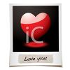 St Valentine's Day Polaroid Photo of a Heart and Love You Text clipart