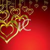 Golden Heart Ornaments Hanging on Chains Valentine's Day Background  clipart