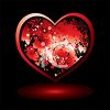 Grunge Heart on a Black Background with Reflection clipart