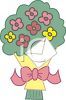 Whimiscal Bouquet of Flowers with a Card clipart