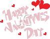 Happy Valentine's Day Message with Red Hearts clipart