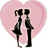 Silhouette of a Young Couple Having a First Kiss clipart